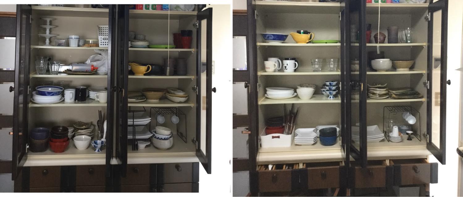 食器棚の片付け
